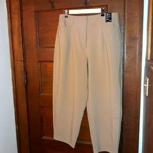NY&C 7th Avenue Beige Wide Leg Crop Pant Stretch
